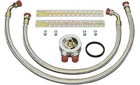Pro vozy s přírubou olejového filtru 3/4 UNF - opletené hadice - termostat (opletené hadice + termostat)