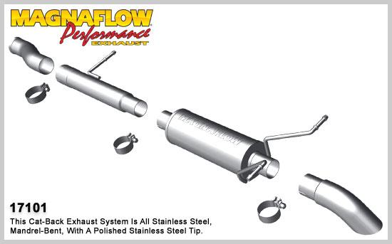 Magnaflow výfuk 17101 Chevrolet Silverado 4.3L V6 a 4.8L, 5.3L V8 2009-13 (Magnaflow 17101 kompletní výfuk)