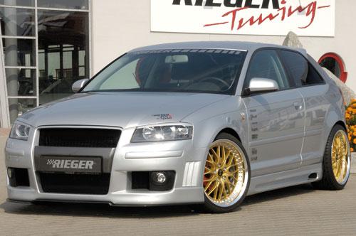 RIEGER Přední nárazník R-Frame (boční žebrování+mlh. světl.) pro Audi A3 8P